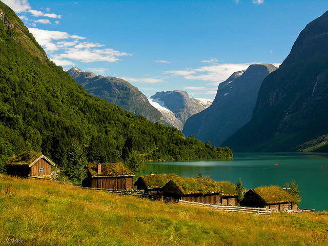 by M Molde on Flickr.Lake Lovatnet in Loen - Sogn og Fjordane county, Norway.