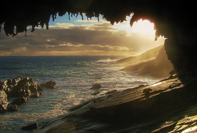 by augustusoz on Flickr.Admiral's Arch at sunset at the western end of Kangaroo Island, in Flinders Chase National Park, Australia.