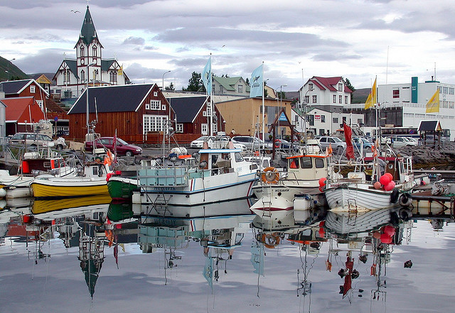 by ystenes on Flickr.Husavik, a harbor for fishermen on the northern Iceland.