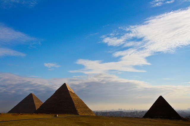 by fabriziogiordano23 on Flickr.The sky over the History, Giza Pyramids, Cairo, Egypt.