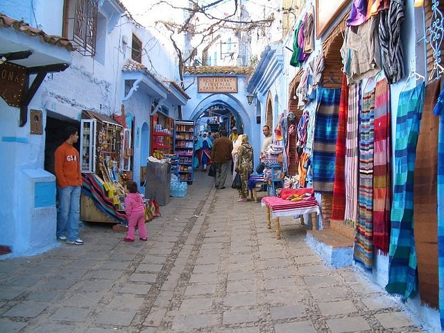 by Trysk  on Flickr.Colorful street bazaar in Chefchaouen, Morocco.