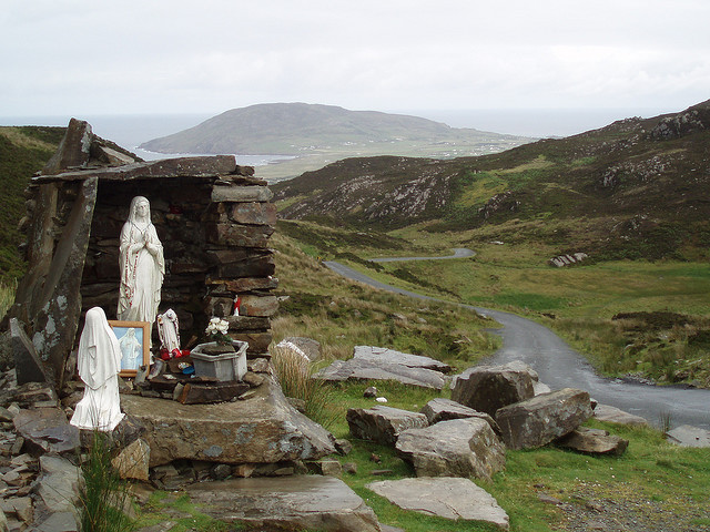 A roadside holy well and grotto at Mamore Gap, County Donegal, Ireland