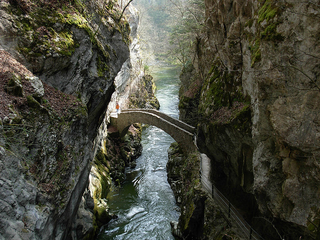 Gorges de l'Areuse in Jura Mountains, Switzerland
