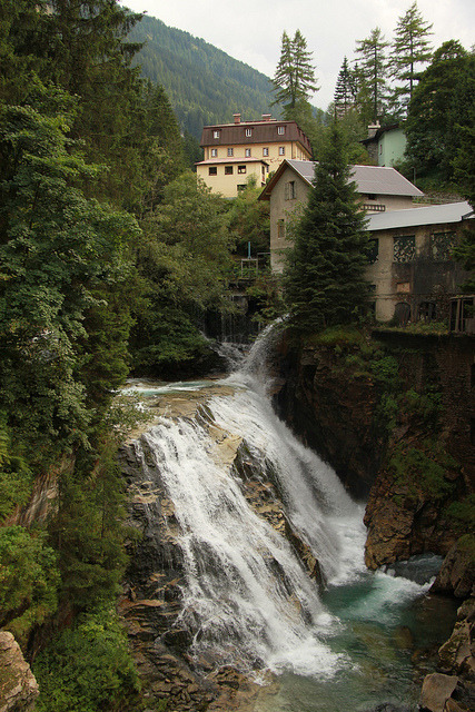 Waterfalls in the spa-town of Bad Gastein, Austria