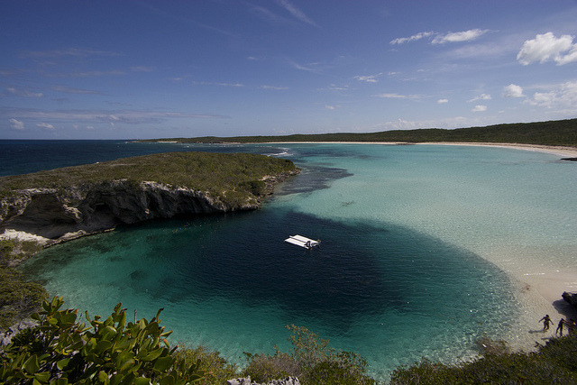 Diving platform above Deans Blue Hole, Bahamas