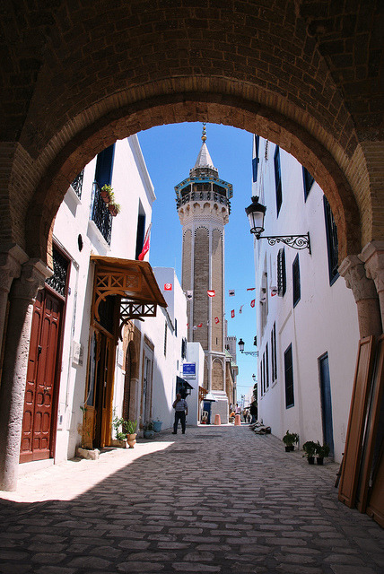 Rue Sidi Bin Arous in Tunis old town, Tunisia
