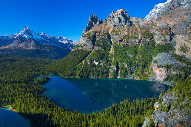 Lake O'Hara and surrounding peaks in Yoho National Park, Canada