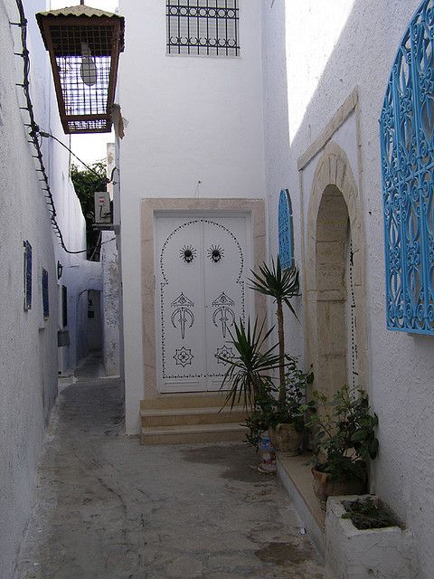 Narrow streets of Hammamet, Tunisia