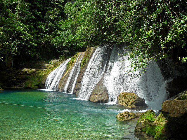 Reach Falls, discovered by runnaway slaves from plantations, Jamaica