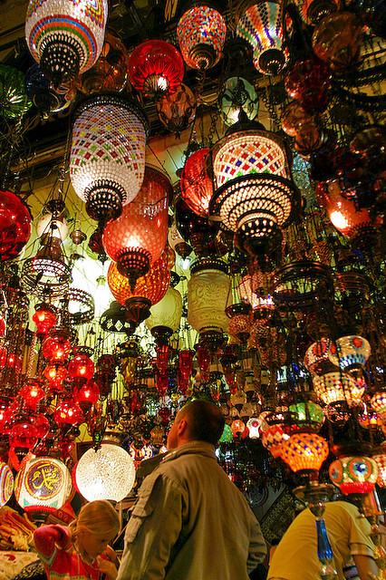 Hanging lamps at the Grand Bazaar of Istanbul, Turkey