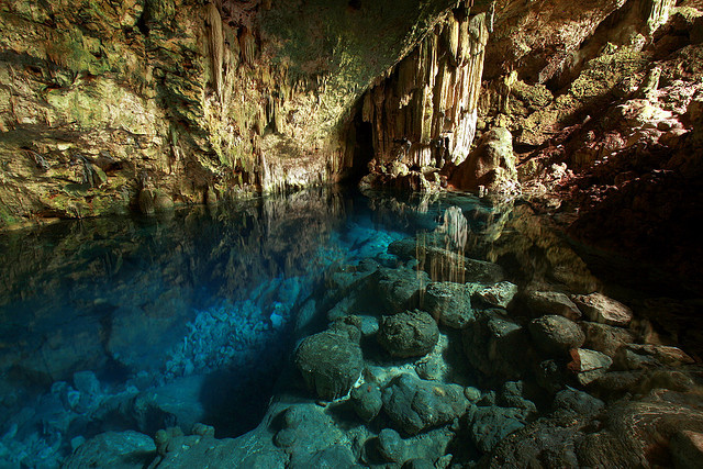 Turqoise water inside Saturno Cave in Varadero, Cuba
