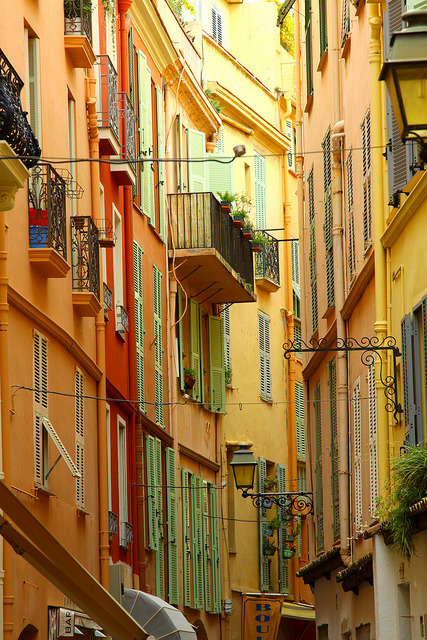 Colorful buildings on Rue Basse in Monaco-Ville