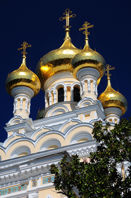 Golden domes of Alexander Nevsky Cathedral in Yalta, Ukraine