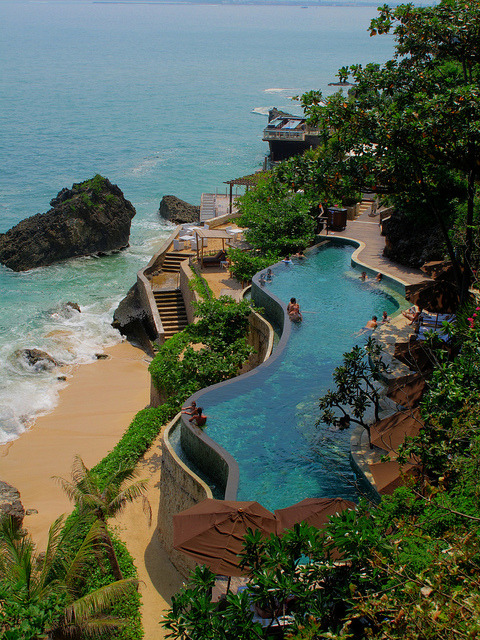 Ayana Resort & Spa lower pool in Bali, Indonesia