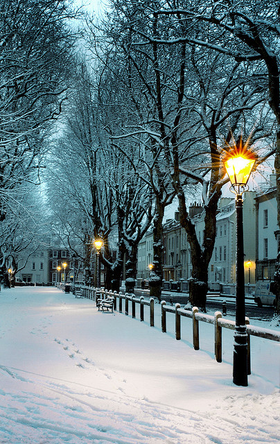 Snowy Night, Bristol, England
