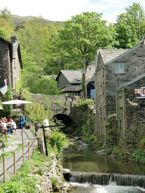 Stock Ghyll river crossing through Ambleside, Cumbria, England