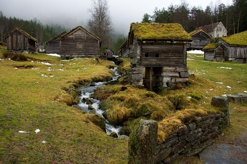 Grass Roof Village, Sunnfjord, Norway