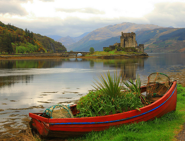 Abandoned boat on Loch Duich, Highlands, Scotland