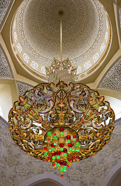 World's largest Swarovski chandelier inside the Sheikh Zayed Grand Mosque in Abu Dhabi, United Arab Emirates