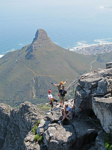 Absailing off Table Mountain, Cape Town, South Africa