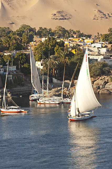Feluccas on the Nile in Aswan, Egypt