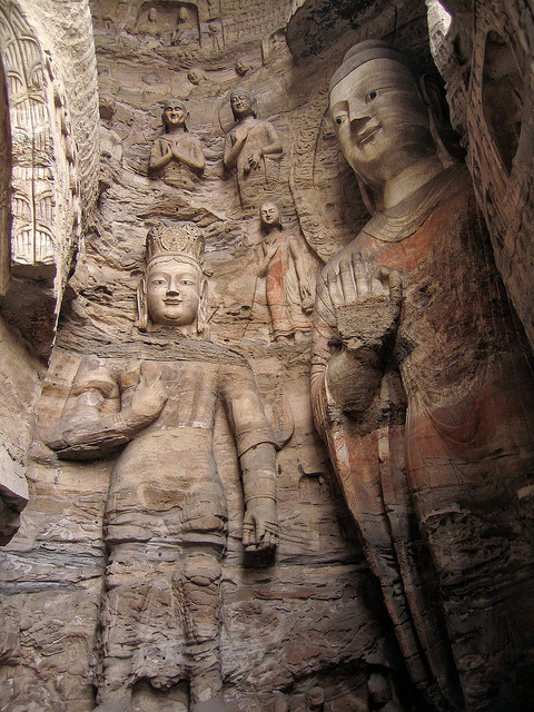 Stone carved Buddhas at Yungang Grottoes in Datong, China