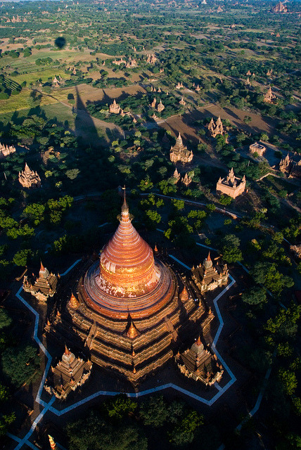 Temples of Bagan from a hot-air balloon, Myanmar