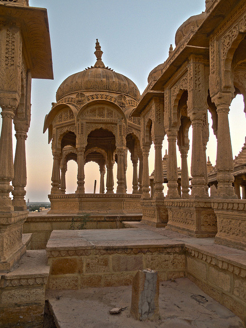 The royal cenotaphs of Bada Bagh in Rajasthan, India