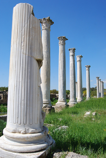 Ruins of the ancient city of Salamis in eastern Cyprus