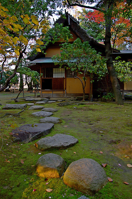 Old style tea-houses and garden at Nagoya Castle / Japan